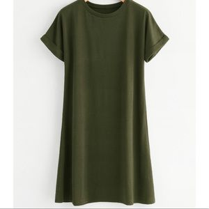 Basic Hunter Green T-Shirt Dress
